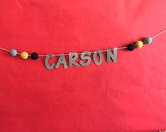 custom name banner with felt balls