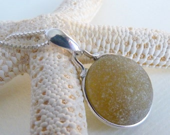 "Honey Sea Glass Necklace Pendant - Genuine English Bubble - Sterling Silver 22"" Chain - FLAXEN"