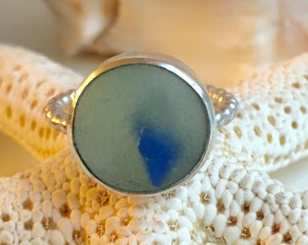 Blue & Aqua Sea Glass Sterling Silver Ring - Genuine Beach Marble Fragment - CAT'S EYE - Size 6-3/4