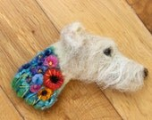 Needle Felted Greyhound/Lurcher  Dog Brooch/Pin