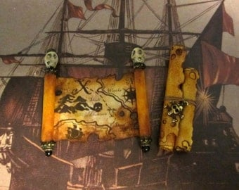 Pirate's Aged Map and Scrolls set  dollhouse miniature in 1/12 scale
