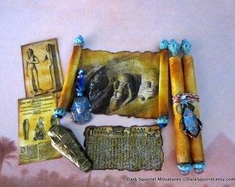Mystery of The Sphinx Egyptian Scroll and Accoutrements Set dollhouse miniature in 1/12 scale
