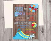 Digital Rustic Wood Red Waterslide Water Slide Waterpark Water Park Birthday Party Invitation Printable