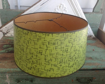 Vintag Paper Lamp Shade Mid Century Modern Green