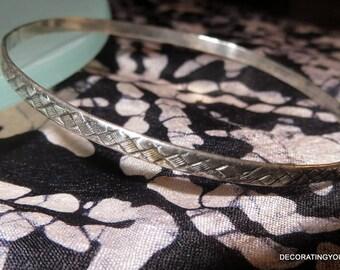 Basket Weave Sterling Bangle Bracelet Skinny