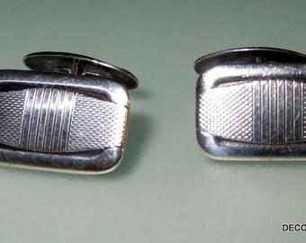 Antique Art Deco Groom Wedding Tuxedo Double Sided 835 Silver Cufflinks Cuff Links Pivot Link
