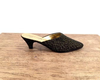 vintage MINIMALIST woven black + gold MULES slip on shoes 7 us, 37 eur