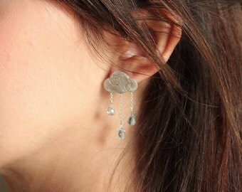 Sweet clouds - sterling silver earrings with blue topaz drops - rain