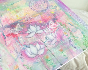 Indian bean - beautiful lotus , mandala , butterfly painting in soft shades of lilac, pink , yellow and green. Original art painting