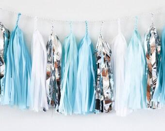 Aqua & Silver tassel garland // wedding and party decoration