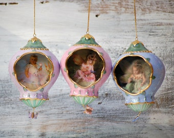 3 Vintage Porcelain  Fairy Ornaments - Lisa Jane's Enchanted Garden Ornaments Bradford Exchange Fairy Christmas Angels