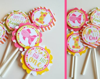 Pink Fish Birthday Party Cupcake Toppers |  Fully Assembled Birthday Decorations | Fish Cupcake Toppers | Girly Fish Birthday | Pink Fish