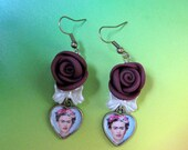 FRIDA kahlo Roses earrings mexico folk art latin fiesta Unique Design mexicana arte