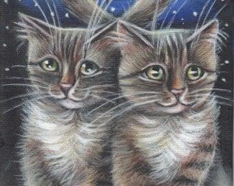 Tabby Cats Valentines Acrylic Original Painting 5x7