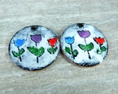 Colorful Tulip Enamel Beads, Folk Art Primitive Flower Enameled Charms, Red Blue Purple Pendants 25mm Rustic Earring Bead Pair Spring Floral