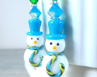 Snowman Earrings, Blue Green White Winter Earrings Christmas Earrings, Holiday Earrings, Lampwork Earrings, Christmas Jewelry, Funny Snowmen