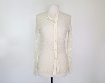 AMAZING LACE // 90s sheer lace button-down blouse