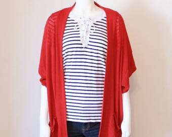Spring Fashion, Red Cardigan, Slouch Cardigan, Womens Cardigans, Short Sleeve Cardigan, Cardigans for Women, Red Sweater, Loose Sweaters