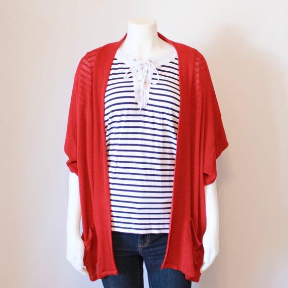 Oversized Kimono Cardigan - Red
