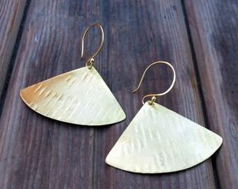 Falling Leaves - Dramatic Brass Earrings - Artisan Tangleweeds Jewelry