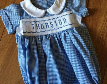 Hand smocked name bubble suit - multiple sizes