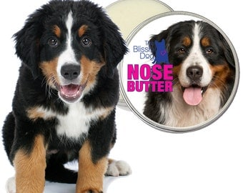 Bernese Mountain Dog All Natural Original NOSE BUTTER® Handcrafted Balm for Dry Noses CHOICE: 1 oz, 2 oz or 4 oz Tin with Berner Label