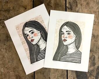 Elena   Hand-painted & Collaged Linoleum Print on Paper