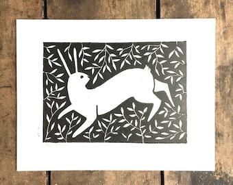 Rabbit Run   Linoleum Print on Paper