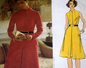 Vogue Couturier Design 2620, Jo Mattli, A-Line Dress Sewing Pattern, Size 14 Bust 36, Partially Cut and Complete