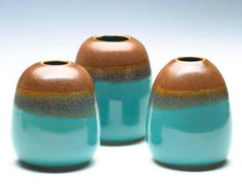 Aqua Golden Brown Small Vase / Ceramic Vessel