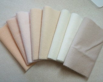 Hand Dyed Felted Wool in a Beautiful Collection of Flesh Tones a Perfect for Dolls, Sewing, Rug Hooking, and Crafts 2965
