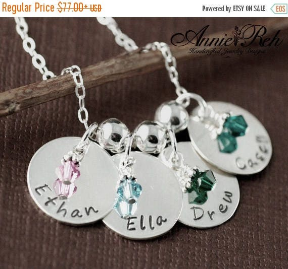 15% OFF SALE Personalized Name Necklace with Birthstones, Hand Stamped Jewelry, Personalized Name Jewelry, Mommy Necklace, Gift for Mom, Nam