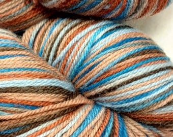 Earth & Sky, Hand Dyed Merino Superwash Sock Yarn, 100g