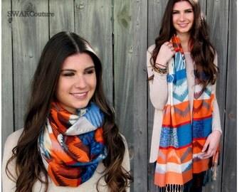Pashmina Shawl, Hills & Valleys Pashmina Scarf, Silk Wool Scarf Wrap, Burnt Orange Blue Gray Long Fashion Scarf