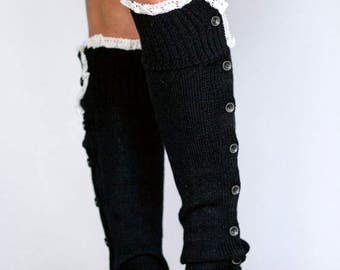 Black Leg Warmers Button Knit Leg warmers Lace Dance Leg Warmers Slouchy Boot Toppers Black - Choose Color