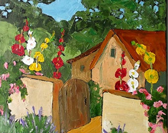 Lynne French Impressionist Painting California Plein Air Hollyhock Cottage Garden 16x20