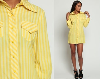 Button Up Dress Striped Shirtdress 70s Mod MICRO Mini Shift COLLARED Yellow Striped 1970s Long Sleeve Vintage Twiggy Shirt Dress Large