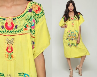 Mexican Dress Embroidered Hippie Boho Midi 80s Ethnic Yellow Tent Bohemian Floral Cotton Tunic Traditional Rainbow Medium Extra Large xl xxl