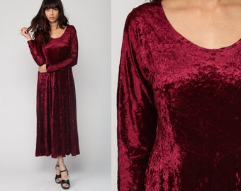 Crushed Velvet Dress 90s Maxi WINE Red Goth Grunge Party Long Sleeve 1990s High Waist Gothic Vintage Ankle Length Medium Large