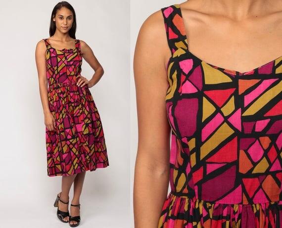 1960s Dress Sundress Geometric Garden Party 60s Midi Cotton Day STAINED GLASS Print Tea Length Sun Pin Up Vintage Purple Medium