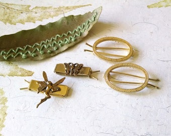 Vintage Barrettes Gold Metal Hair Clips Pins Little Girls Jewelry Accessories