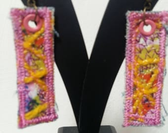 Textile Art Embroidered Earrings Handmade One of a Kind by Sujati Designs