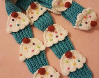 crochet  cupcake scarf blue   cherry SALE,\more colors