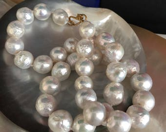 Platinum White Iridescent Chinese Kasumi Style Pearl Necklace