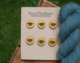 6 Yellow Honeybee Buttons- Yellowheart Wood- Wooden Buttons- Eco Craft Supplies, Eco Knitting Supplies, Eco Sewing Supplies