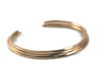 3 Square Gold Cuffs, Layering Bracelets in Yellow or Rose Gold Filled