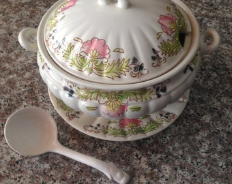 Vintage Soup Tureen with Saucer and Porcelain Spoon