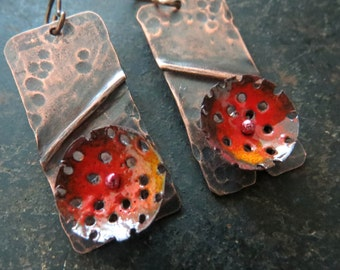 Rustic Autumn, Fall red and orange,  torch fired enamel copper dangle woodland earrings by Vintajia Adornments
