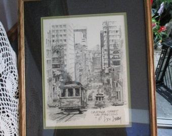Don Davey  Black & White Print Matted -Framed Pencil 1977 California Street - San Francisco   Artist History  on Back Vintage Wall Hanging