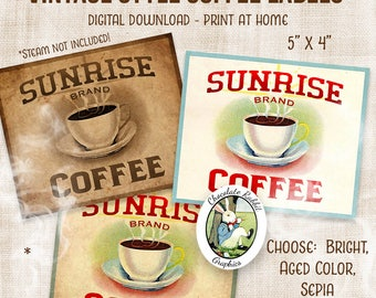 Coffee Label Digital Download Printable Vintage Style Coffee Clip Art Coffee Can Label Kitchen Pantry Labels